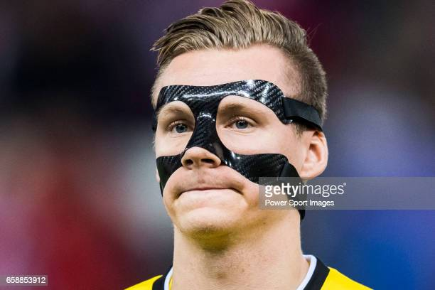 Goalkeeper Bernd Leno of Bayer 04 Leverkusen prior to the 201617 UEFA Champions League Round of 16 second leg match between Atletico de Madrid and...