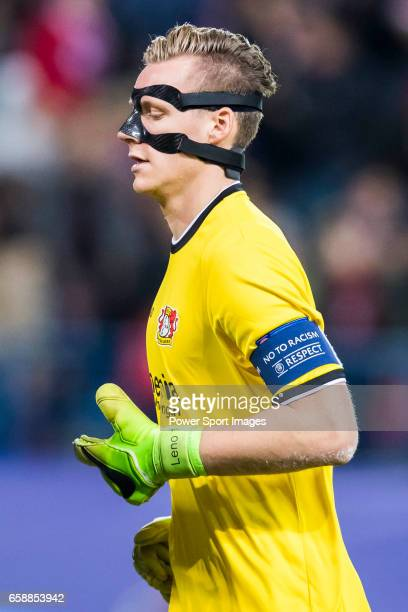 Goalkeeper Bernd Leno of Bayer 04 Leverkusen reacts during their 201617 UEFA Champions League Round of 16 second leg match between Atletico de Madrid...