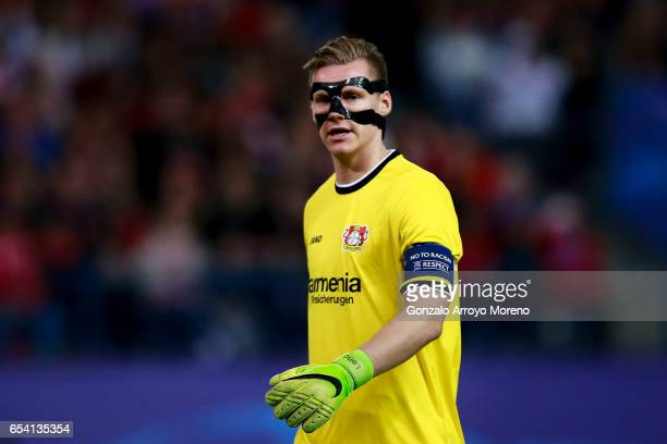 Goalkeeper Bernd Leno of Bayer Leverkusen looks on during the UEFA Champions League Round of 16 second leg match between Club Atletico de Madrid and...