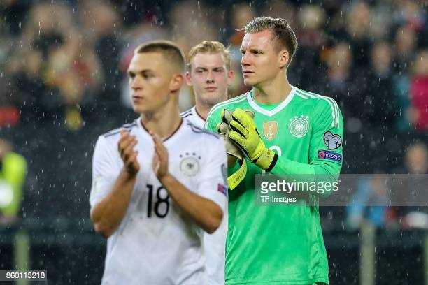 goalkeeper Bernd Leno of Germany gestures during the FIFA 2018 World Cup Qualifier between Germany and Azerbaijan at FritzWalter Stadium on October 8...