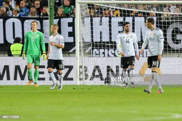 goalkeeper Bernd Leno of Germany Joshua Kimmich of Germany Leon Goretzka of Germany Emre Can of Germany looks dejected during the FIFA 2018 World Cup...
