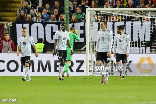 goalkeeper Bernd Leno of Germany Joshua Kimmich of Germany Sami Khedira of Germany Leon Goretzka of Germany Emre Can of Germany looks dejected during...