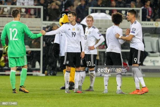 goalkeeper Bernd Leno of Germany Leon Goretzka of Germany Julian Brandt of Germany Leroy Sane of Germany and Sandro Wagner of Germany celebrate their...