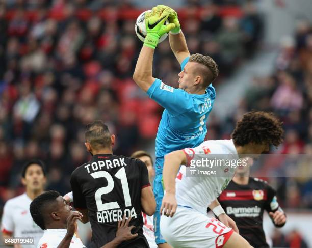 Goalkeeper Bernd Leno of Leverkusen in action during the Bundesliga match between Bayer 04 Leverkusen and 1 FSV Mainz 05 at BayArena on February 25...
