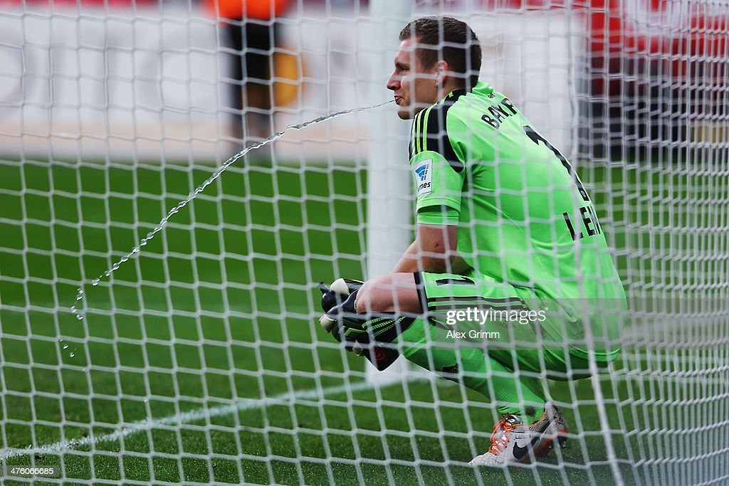 Goalkeeper <a gi-track='captionPersonalityLinkClicked' href=/galleries/search?phrase=Bernd+Leno&family=editorial&specificpeople=5528639 ng-click='$event.stopPropagation()'>Bernd Leno</a> of Leverkusen reacts after the Bundesliga match between Bayer 04 Leverkusen and 1. FSV Mainz 05 at BayArena on March 1, 2014 in Leverkusen, Germany.
