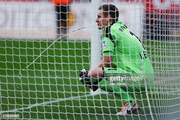 Goalkeeper Bernd Leno of Leverkusen reacts after the Bundesliga match between Bayer 04 Leverkusen and 1 FSV Mainz 05 at BayArena on March 1 2014 in...