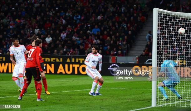 Goalkeeper Bernd Leno of Leverkusen receives an own goal during the Bundesliga match between Bayer 04 Leverkusen and FC Bayern Muenchen at BayArena...
