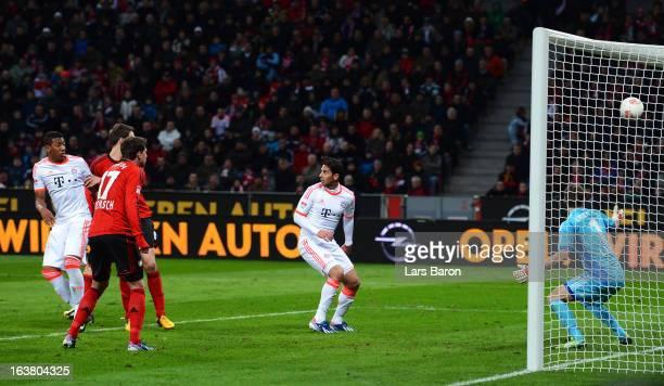 Goalkeeper Bernd Leno of Leverkusen receives an own goal during the Bundesliga match between Bayer 04 Leverkusen and FC Bayern Muenchen at BayArena...