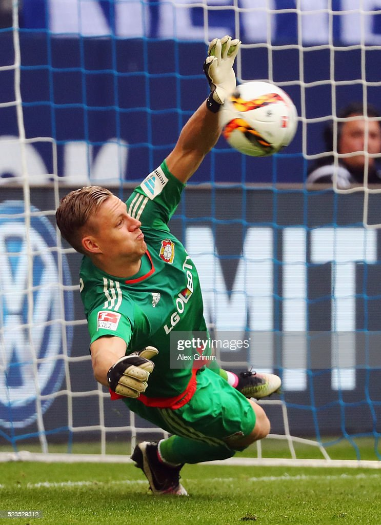Goalkeeper <a gi-track='captionPersonalityLinkClicked' href=/galleries/search?phrase=Bernd+Leno&family=editorial&specificpeople=5528639 ng-click='$event.stopPropagation()'>Bernd Leno</a> of Leverkusen saves a penalty from Klaas-Jan Huntelaar of Schalke during the Bundesliga match between FC Schalke 04 and Bayer Leverkusen at Veltins-Arena on April 23, 2016 in Gelsenkirchen, Germany.