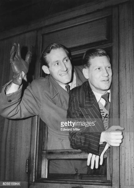 Goalkeeper Bert Hoyle and team Captain Ray Warren of Bristol Rovers leave King's Cross Station in London for Newcastle for a sixth round cup tie...