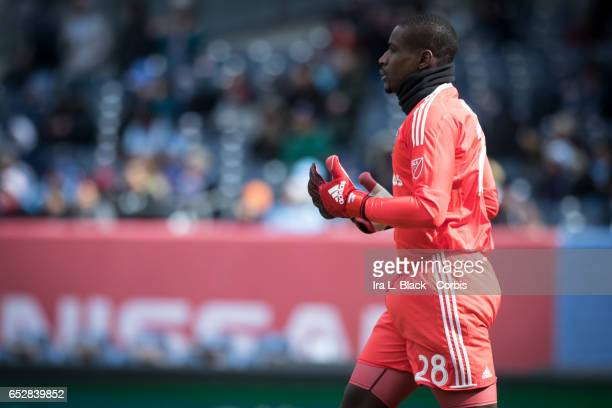 Goalkeeper Bill Hamid of DC United keeps his focus during the 2017 MLS Season Opening match between NYCFC vs DC United on March 12 2017 at Yankee...