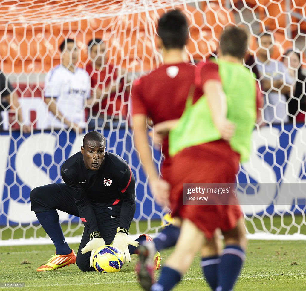 Goalkeeper Bill Hamid of D.C. United makes a save during a U.S. Men's National Team training session at BBVA Compass Stadium on January 28, 2013 in Houston, Texas.