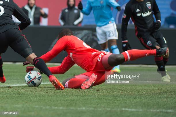 Goalkeeper Bill Hamid of DC United makes a save during the match vs New York City FC at Yankee Stadium on March 12 2017 in New York City New York...