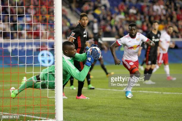 Goalkeeper Bill Hamid of DC United makes a save during the New York Red Bulls Vs DC United MLS regular season match at Red Bull Arena Harrison New...