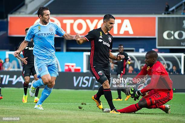 Goalkeeper Bill Hamid of DC United saves a goal from midfielder Frank Lampard of New York City FC during the match at Yankee Stadium on September 1...