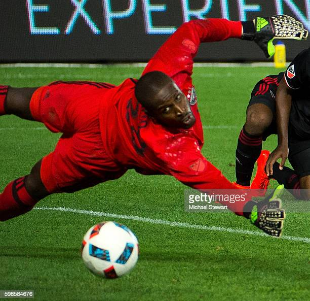 Goalkeeper Bill Hamid of DC United watches the ball go past him during the match vs New York City FC at Yankee Stadium on September 1 2016 in New...