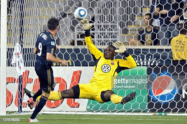 Goalkeeper Bill Hamid of the DC United is unable to make a save on a shot by Sebastien Le Toux of the Philadelphia Union at PPL Park on September 29...