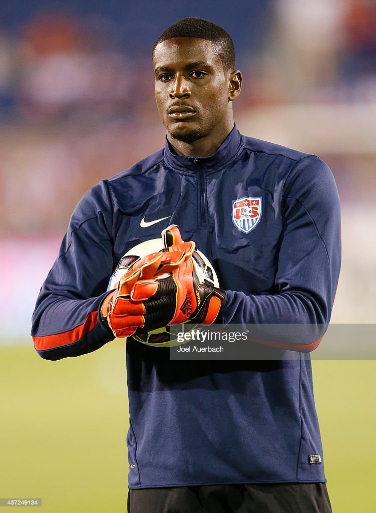 Goalkeeper <a gi-track='captionPersonalityLinkClicked' href=/galleries/search?phrase=Bill+Hamid&family=editorial&specificpeople=4417249 ng-click='$event.stopPropagation()'>Bill Hamid</a> #12 of the USA warms up prior to an International Friendly match against Honduras on October 14, 2014 at FAU Stadium in Boca Raton, Florida. The match ended in a 1-1 tie.