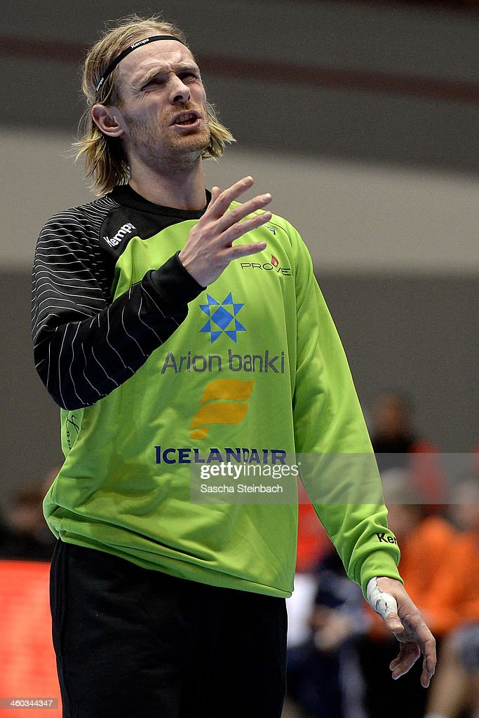 Goalkeeper <a gi-track='captionPersonalityLinkClicked' href=/galleries/search?phrase=Bjoergvin+Pall+Gustavsson&family=editorial&specificpeople=5488616 ng-click='$event.stopPropagation()'>Bjoergvin Pall Gustavsson</a> of Iceland reacts during the DHB Four Nations Tournament match between Russia and Iceland at Westfalenhalle on January 3, 2014 in Dortmund, Germany.