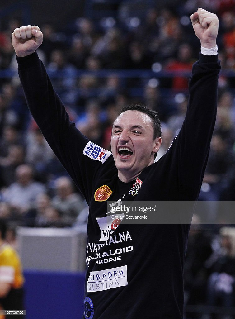 Goalkeeper Borko Ristovski of Macedonia celebrates victory against Serbia during the Men's European Handball Championship 2012 second round group one, match between Serbia v Macedonia at Arena Hall on January 25, 2012 in Belgrade, Serbia.