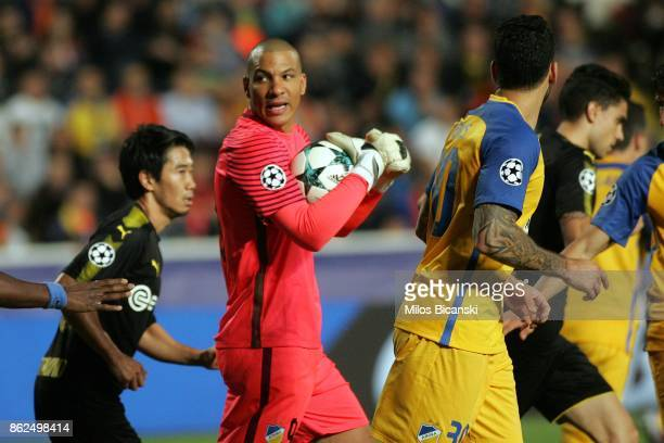 Goalkeeper Boy Waterman of Apoel claims the ball during the UEFA Champions League group H match between APOEL Nikosia and Borussia Dortmund at GSP...