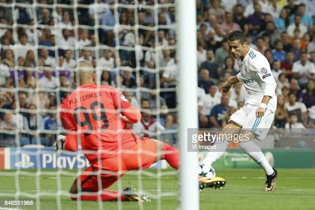 goalkeeper Boy Waterman of APOEL FC Cristiano Ronaldo of Real Madrid 10 during the UEFA Champions League group H match between Real Madrid and APOEL...