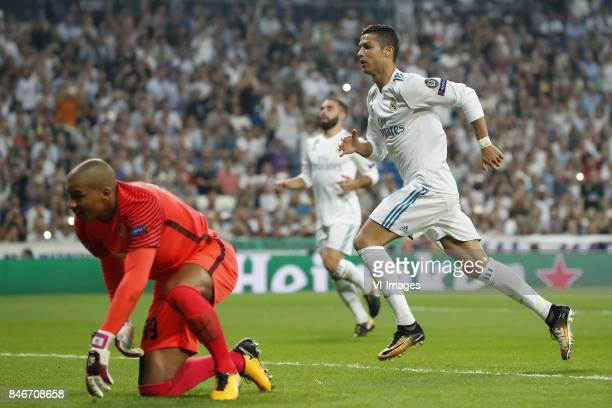 goalkeeper Boy Waterman of APOEL FC Daniel Carvajal of Real Madrid Cristiano Ronaldo of Real Madrid during the UEFA Champions League group H match...