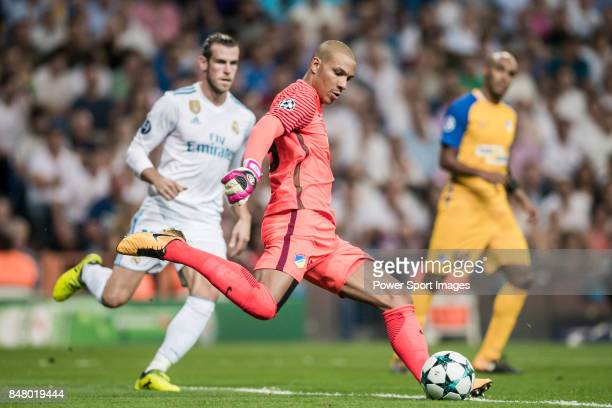 Goalkeeper Boy Waterman of APOEL FC in action during the UEFA Champions League 201718 match between Real Madrid and APOEL FC at Estadio Santiago...