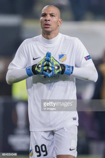 goalkeeper Boy Waterman of Apoel FCduring the UEFA Europa League round of 16 match between RSC Anderlecht and APOEL on March 16 2017 at Constant...