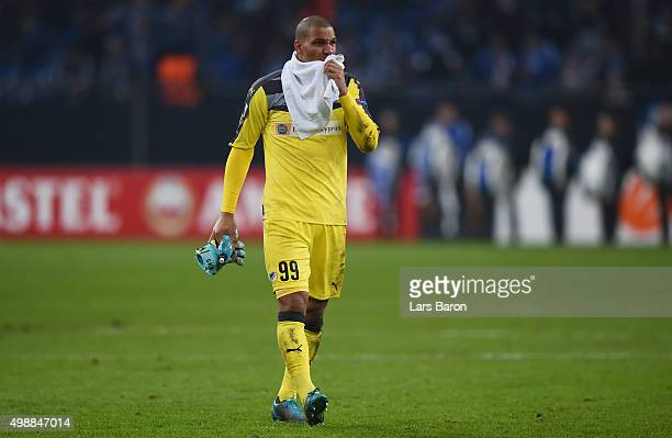 Goalkeeper Boy Waterman of APOEL is seen after loosing the UEFA Europa League Group K match between FC Schalke 04 and APOEL FC on November 26 2015 in...