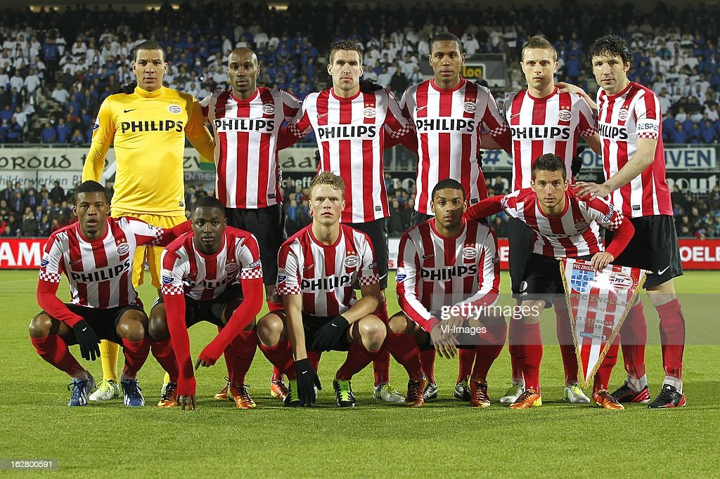 goalkeeper Boy Waterman of PSV, Atiba Hutchinson of PSV, Kevin Strootman of PSV, Marcelo of PSV, Timothy Derijck of PSV, Mark van Bommel of PSV Georginio Wijnaldum of PSV, Jetro Willems of PSV, Oscar Hiljemark of PSV, Jurgen Locadia of PSV, Dries Mertens of PSV during the Dutch Cup match between PEC Zwolle and PSV Eindhoven at the IJsseldelta Stadium on february 27, 2013 in Zwolle, The Netherlands