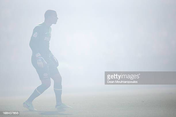 Goalkeeper Boy Waterman of PSV is surrounded by the smoke from flares d uring the Dutch Cup final between PSV Eindhoven and AZ Alkmaar at De Kuip on...