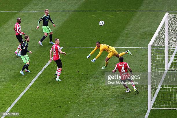 Goalkeeper Boy Waterman of PSV makes a save from Viktor Fischer of Ajax during the Eredivisie match between PSV Eindhoven and Ajax Amsterdam at...