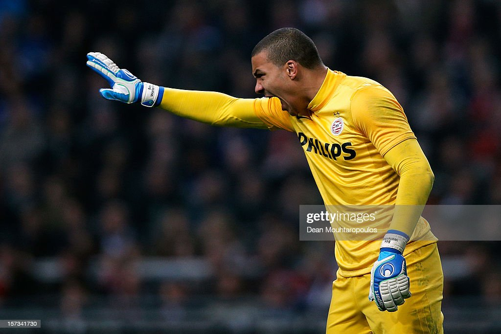 Goalkeeper, Boy Waterman of PSV screams instructions to his players during the Eredivisie match between Ajax Amsterdam and PSV Eindhoven at Amsterdam Arena on December 1, 2012 in Amsterdam, Netherlands.