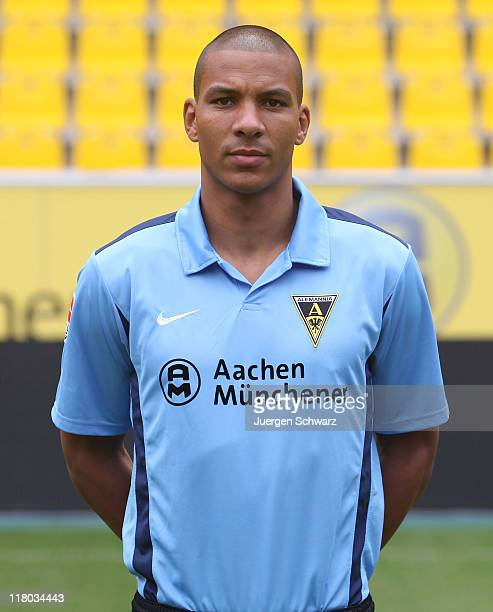 Goalkeeper Boy Waterman poses during the Alemannia Aachen Team Presentation at Tivoli on July 3 2011 in Aachen Germany