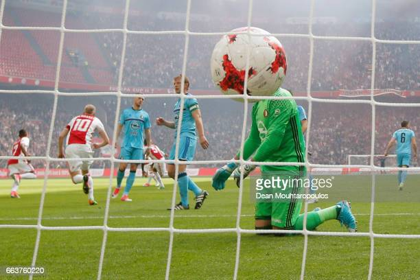 Goalkeeper Brad Jones of Feyenoord Rotterdam looks dejected after Lasse Schone of Ajax takes and scores a free kick during the Dutch Eredivisie match...