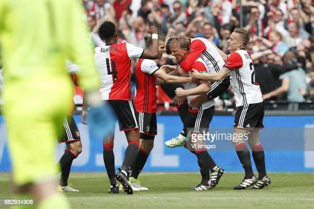 goalkeeper Bram Castro of Heracles Almelo Terence Kongolo of Feyenoord Bart Nieuwkoop of Feyenoord Dirk Kuyt of Feyenoord Steven Berghuis of...