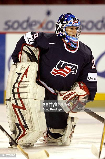 Goalkeeper Brianne McLaughlin of the USA warms up prior to facing Canada during their Women's Ice Hockey match at the Magness Arena on the Denver...