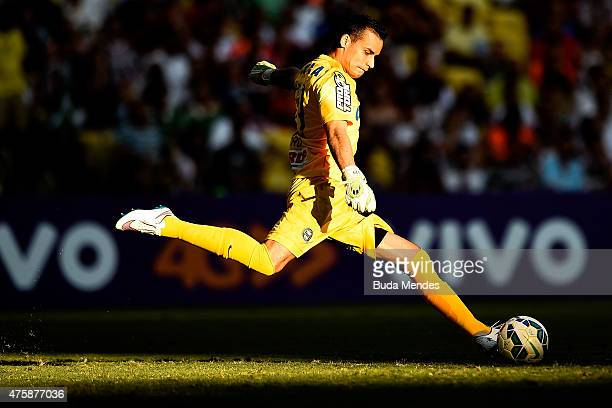 Goalkeeper Bruno of Coritiba kicks the ball during a match between Fluminense and Coritiba as part of Brasileirao Series A 2015 at Maracana Stadium...