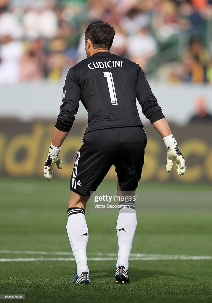 Goalkeeper <a gi-track='captionPersonalityLinkClicked' href=/galleries/search?phrase=Carlo+Cudicini&family=editorial&specificpeople=226724 ng-click='$event.stopPropagation()'>Carlo Cudicini</a> #1 of the Los Angeles Galaxy defends his net during the MLS match against Chicago Fire at The Home Depot Center on March 3, 2013 in Carson, California. The Galaxy defeated the Fire 4-0.