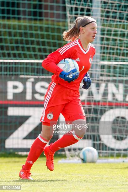 Goalkeeper Carlotta Pauline Nelles of Germany controls the ball during the Under 15 girls international friendly match between Czech Republic and...
