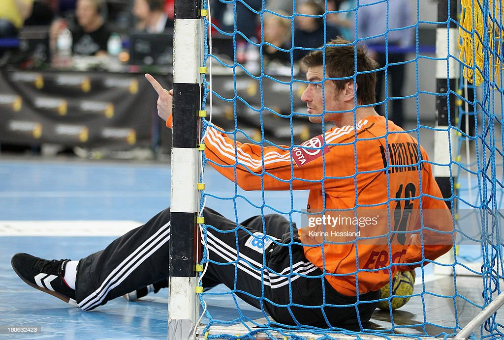 Goalkeeper <a gi-track='captionPersonalityLinkClicked' href=/galleries/search?phrase=Carsten+Lichtlein&family=editorial&specificpeople=577209 ng-click='$event.stopPropagation()'>Carsten Lichtlein</a> of Germany reacts during the match between Germany and Bundesliga All Stars on February 2, 2013 in Leipzig, Germany.
