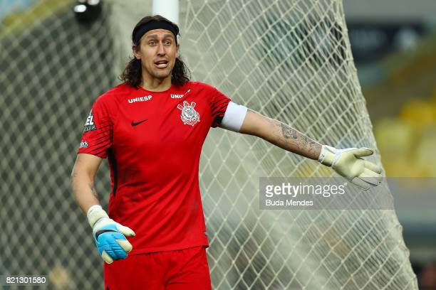 Goalkeeper Cassio of Corinthians reacts during a match between Fluminense and Corinthians as part of Brasileirao Series A 2017 at Maracana Stadium on...