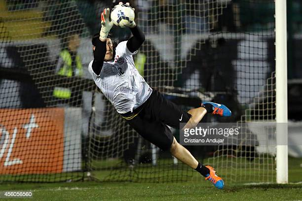 Goalkeeper Cassio of Corinthians warming up before a match between Figueirense and Corinthians as part of Campeonato Brasileiro 2014 at Orlando...