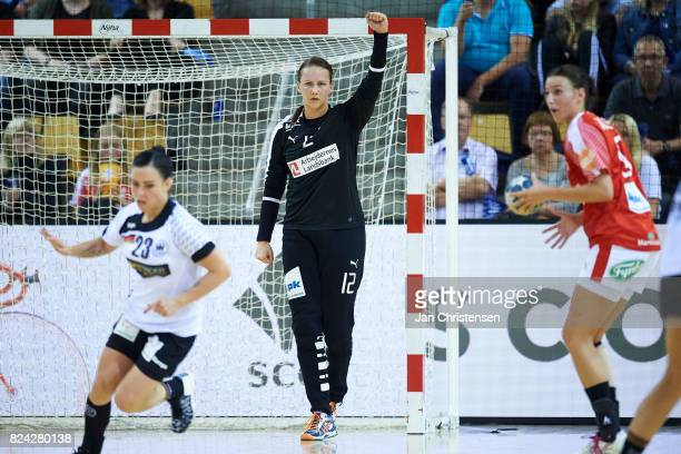 Goalkeeper Cecilie Greve of Denmark celebrates after save during the international friendly match between Denmark and Germany at Ceres Arena on June...