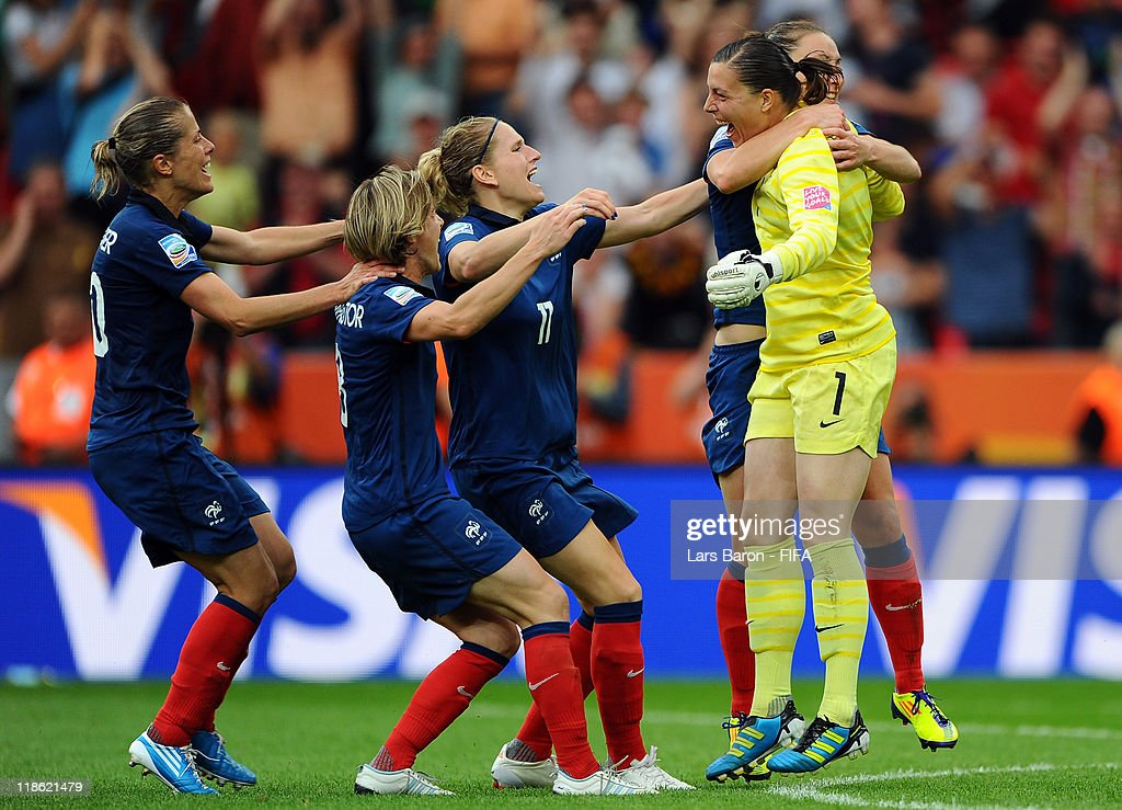 Goalkeeper Celine Deville of France celebrates with team mates after winning the FIFA Women's World Cup 2011 Quarter Final match between England and France at the FIFA Women's World Cup Stadium Leverkusen on July 9, 2011 in Leverkusen, Germany.