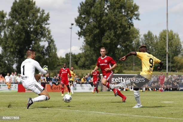 goalkeeper Chiel Kramer of Almere City Damon Mirani of Almere City Thierry Ambrose of NAC Breda 10 during the friendly match between NAC Breda and...