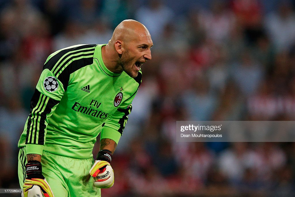 Goalkeeper, Christian Abbiati of AC Milan in action during the UEFA Champions League Play-off First Leg match between PSV Eindhoven and AC Milan at PSV Stadion on August 20, 2013 in Eindhoven, Netherlands.