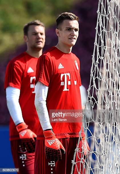 Goalkeeper Christian Früchtl is seen next to Manuel Neuer during a training session at day two of the Bayern Muenchen training camp at Aspire Academy...