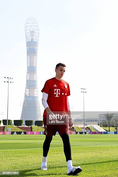 Goalkeeper Christian Fruechtl leaves the pitch during a training session at day two of the Bayern Muenchen training camp at Aspire Academy on January...